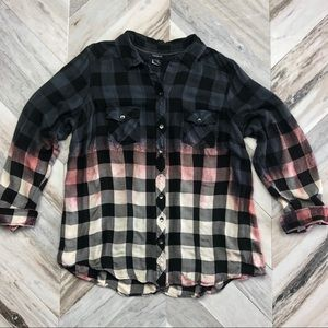 Torrid Buffalo Plaid Button Down Distressed Top